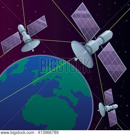 Illustration Of Space Satellite Network Orbiting Around Planet Earth.