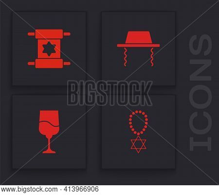 Set Star Of David Necklace On Chain, Torah Scroll, Orthodox Jewish Hat And Jewish Goblet Icon. Vecto