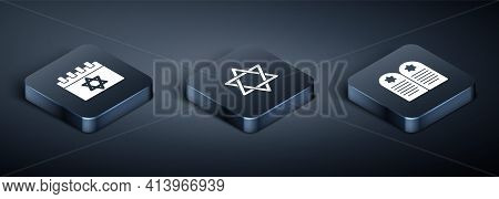 Set Isometric Jewish Calendar, Tombstone With Star Of David And Star David Icon. Vector