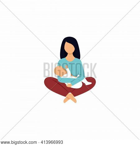 The Mother Holds The Baby In Her Arms And Breastfeeds. Illustration On The Topic Of Breastfeeding. V