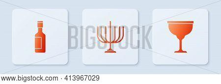 Set Hanukkah Menorah, Jewish Wine Bottle And Goblet. White Square Button. Vector