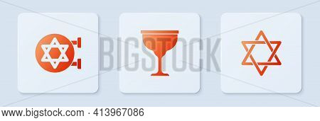 Set Jewish Goblet, Synagogue And Star Of David. White Square Button. Vector