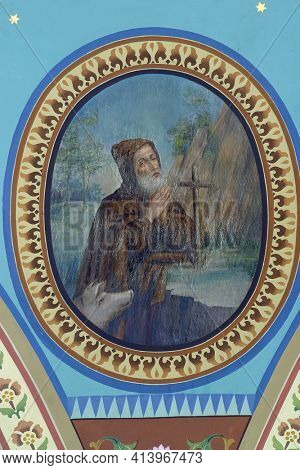 ZACRETJE, CROATIA - AUGUST 06, 2017: Saint Antony the Hermit, fresco in the parish church of the Holy Cross in Sveti Kriz Zacretje, Croatia