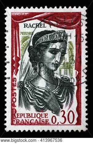 ZAGREB, CROATIA - SEPTEMBER 09, 2014: Stamp printed in the France shows Elisabeth Felix, better known as Mademoiselle Rachel French actress, Famous actors series, circa 1961