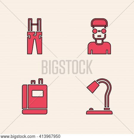 Set Table Lamp, Pants With Suspenders, Nerd Geek And Book Icon. Vector