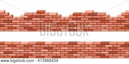 Brick Walls 3d View, Set Of Seamless Pattern For Background. Red Brick Stacked. Broken Or Demolited