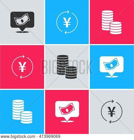 Set Stacks Paper Money Cash, Coin With Yen And Dollar Icon. Vector