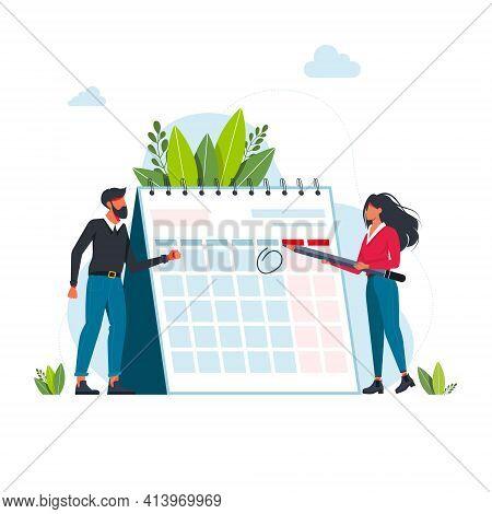 Time Management And Deadline Concept. Businessmans Planning Events, Deadlines, And Agenda. Calendar,