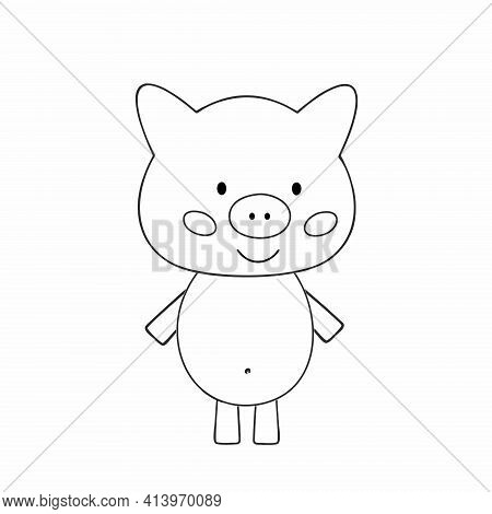 A Pig Drawn With An Outline. Drawing Of A Piglet With A Black Line. Vector Coloring Book For Kids.