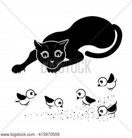 Vector Sketch, Hand Drawing Cat Hunting Birds. The Predator Lurks And Watches The Victim. Black And