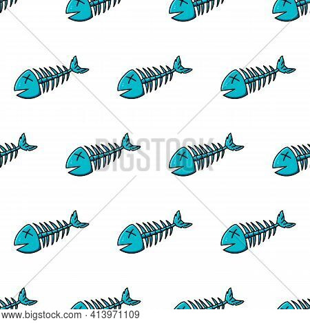 Dead Fish Seamless Pattern. Cool Picture In Blue And Black Outline To Indicate Debris Or Environment