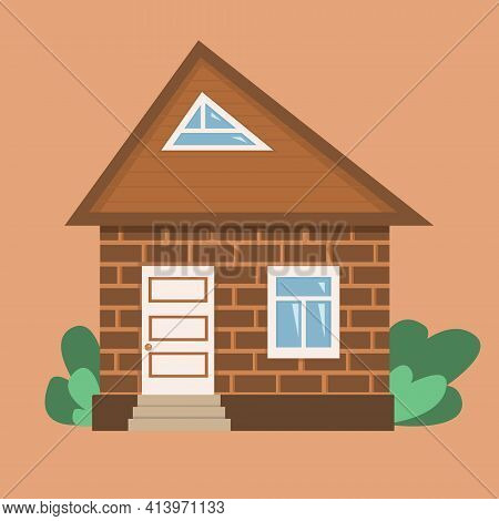 Vector Illustration Brick Cottage, Country House In Flat Style. Cute Brown House For Banners, Web De