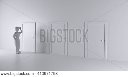 One Thinking Person And Three Closed Door. Three Choices And Three Possibilities To Be Or Not To Be