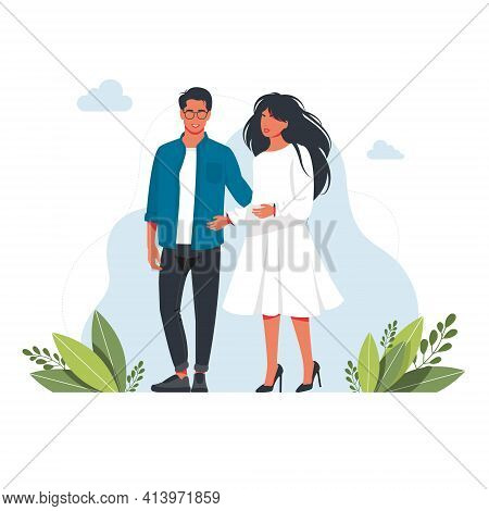 A Man And A Woman Are Standing Together Hugging Young Romantic Couple On A Date. Woman, Man Are In L
