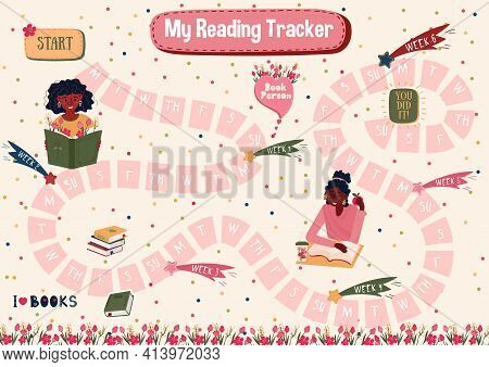 Habits Tracker For Reading Books For 7 Weeks. Daily Planner For Reading Books. Schedule For Students