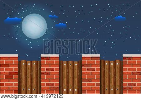Wooden Fence Against The Night Sky. Rural Wooden Fence With Pillars Of Bricks And Sky With Moon, Sta
