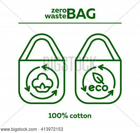 Zero Waste Bags. Vector Icons Of Cotton Textile Bag Icons. Green Bag With Cotton And Eco-leaf Line I