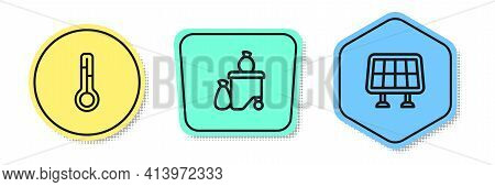 Set Line Meteorology Thermometer, Full Dustbin And Solar Energy Panel. Colored Shapes. Vector