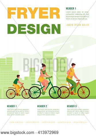 Family Riding Bikes In City Park. Young Couple With Child Cycling Outdoors. Vector Illustration For