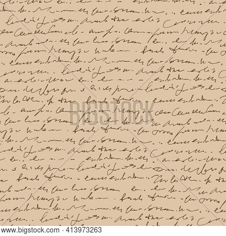 Handwritten Abstract Text Vector Seamless Pattern, Vintage Style, Ancient Handwriting, Monochrome Sc