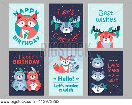 Postcards Designs With Cute Forest Animals. Bright Cards With Best Wishes And Lovely Characters. For