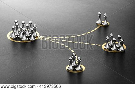 3d Illustration Of Pawns Segmented In Different Categories Over Black Background. Concept Of Audienc
