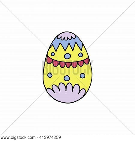 Yellow Easter Egg In Doodle Style. Vector Icon For The Easter Holiday.