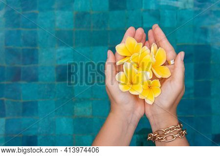 Female Hand With Frangipani On The Background Of A Blue Pool. Copy Space.