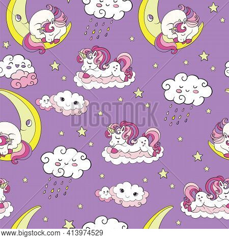 Seamless Pattern With Dreaming Baby Unicorns At Night On Purple Background. Vector Illustration For