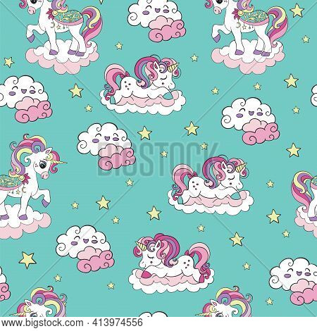 Seamless Pattern With Dreaming Unicorns And Clouds On Turquoise Background. Vector Illustration For