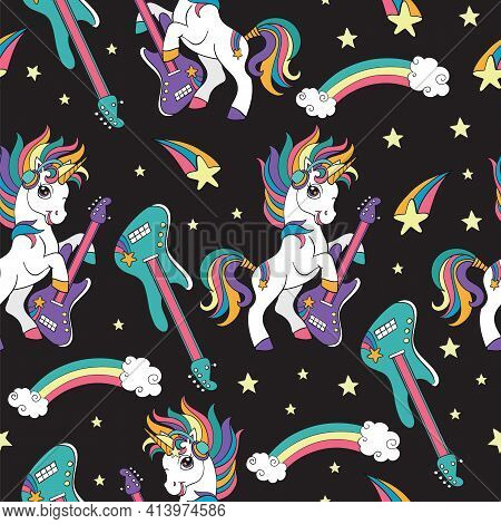 Seamless Pattern With Cool Unicorns With Guitar On Black Background. Vector Illustration For Party,
