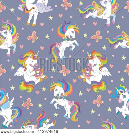 Seamless Pattern With Cute Unicorns And Butterflies On Blue Background. Vector Illustration For Part