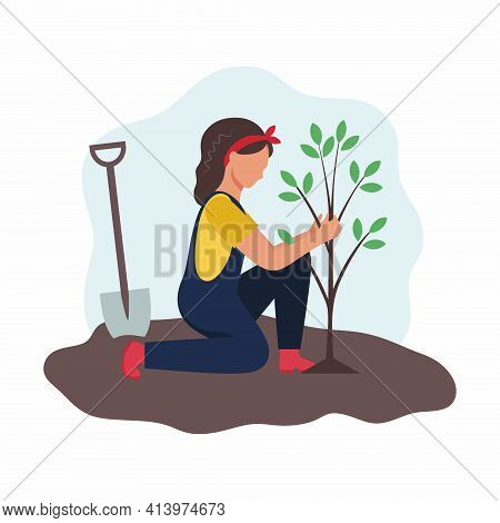 A Woman Plants A Tree In The Garden. Garden And Vegetable Garden. Planting Spring Seedlings. Vector
