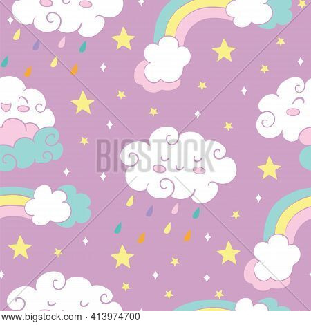 Seamless Pattern With Rainbow Rain Clouds And Stars On Pink Background. Vector Illustration For Part