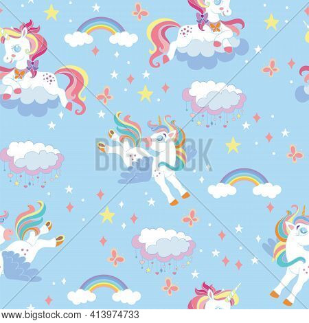 Seamless Pattern With Funny Unicorns And Rainbows On Blue Background. Vector Illustration For Party,