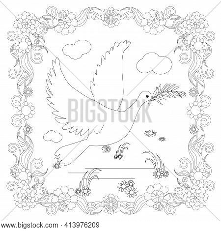 Dove Fly With Olive Branch In Floral Frame Design Element Stock Vector Illustration For Coloring Boo