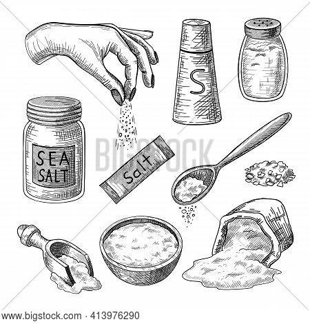 Sea Salt Engraved Illustrations Set. Hand Drawn Sketch Of Glass Bottles, Packages, Bag, Bowl, Spoons