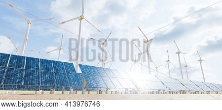 Solar And Wind Farm Of Solar Panels And Turbines With Cloud Sky And Sun Glint On The Panels. 3d Rend