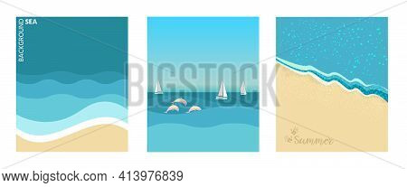 A Set Of Posters With A Seascape Background. Nature, Sea Waves, Beach, Sand, Footprints On The Sand,