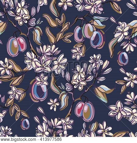 Seamless Pattern With Hand Drawn Plum Flowers And Fruits. Blooming Plum Branches On Dark Vintage Bac