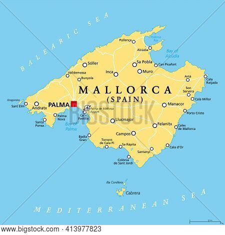 Mallorca Political Map, With Capital Palma And Important Towns. Majorca, Largest Island Of The Auton