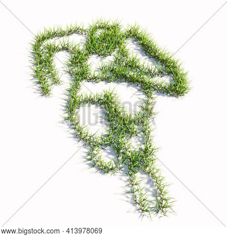 Concept or conceptual green summer lawn grass symbol isolated white background, sign of colorful runner. 3d illustration metaphor for athlete, sprinter, marathon, competition, exercise and  health