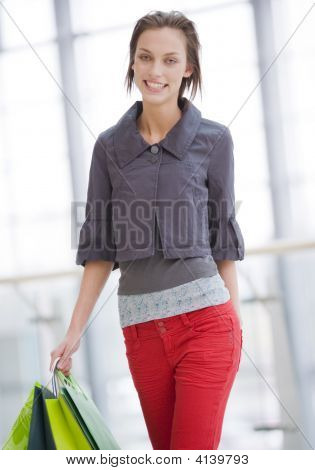 Young Brunette Woman Shopping