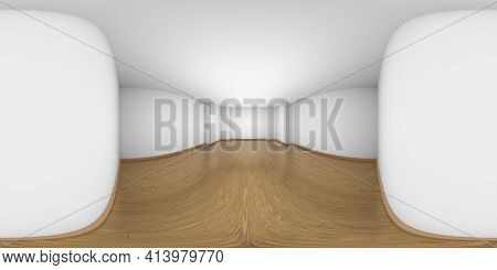 Hdri Environment Map Of White Empty Room With Walls, Brown Hardwood Parquet Floor And Soft Light, Wi