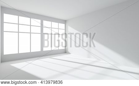 Empty White Room With Light From Window, With White Wall, Floor And Ceiling, Without Any Textures, A