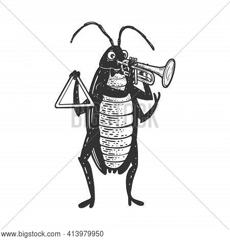 Cartoon Cockroach Orchestra Playing The Trumpet Sketch Engraving Vector Illustration. T-shirt Appare