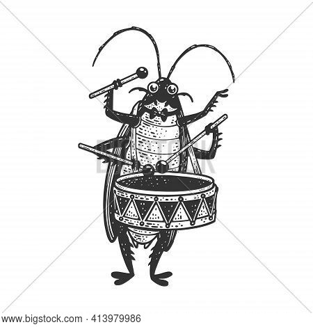 Cartoon Cockroach Orchestra Playing The Drum Sketch Engraving Vector Illustration. T-shirt Apparel P