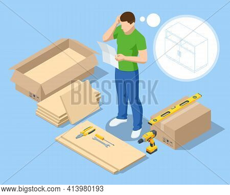 Isomtric Man Does The Assembly Of Furniture Himself At Home. Furniture Assembly Help With Man Confus