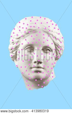 Collage With Sculpture Of Human Face In A Pop Art Style. Modern Creative Concept Image With Ancient