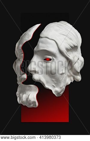 Antique Sculpture Of Human Face Surreal Collage In Pop Art Style. Modern Image With Cut Details Of S
